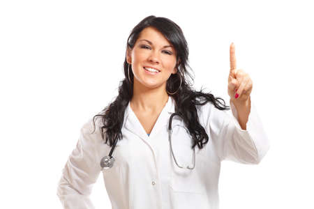 Medicine woman doctor pointing at something with her finger photo