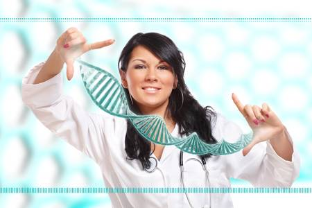 medical scientist: Researcher or a medic holding up a DNA strand. This could be also futuristic doctor using genetic engineering techniques known as recombinant DNA technology.  Stock Photo