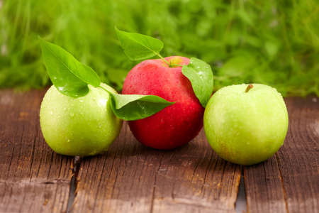 Three fresh wet apples with leaves on wooden board  Two green and one red  photo
