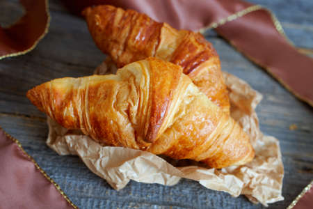 distinctive: Original French croissants  is a buttery flaky viennoiserie bread roll named for its distinctive crescent shape