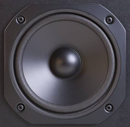 woofer: Close-up view of black speaker Stock Photo