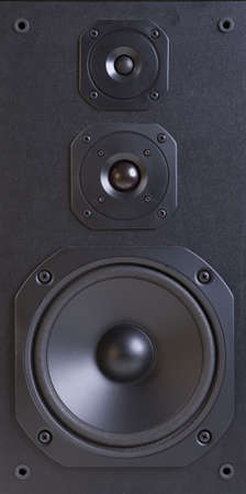 acoustic systems: three way speaker system close-up Stock Photo