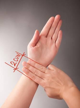 akupressur: Akupressur, Akupunktur Wie 1 5 CUN, eine traditionelle chinesische Einheit der L�nge Seine traditionelle Ma�nahme ist die Breite einer Person zu messen Lizenzfreie Bilder