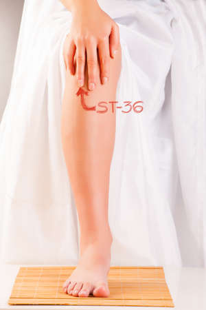 acupressure: Acupressure, acupuncture  Finger on point called ST36 Leg Three Miles ZUSANLI  Presentation on how to find this point