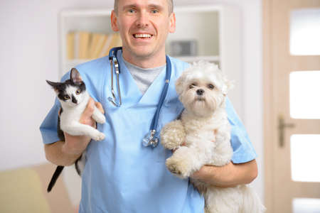 Happy vet with dog and cat, focus intentionally left on smile of veterinary  Imagens