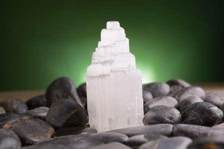 Selenit natürlichen Kristall Mineral Gips als Satin Holm bekannt ist, stieg der Wüste, und Gips Blume