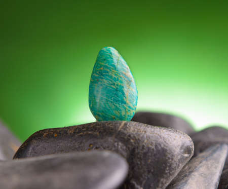 amazonite: Amazonite also called Amazon stone natural crystal on amethyst rock