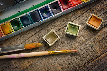 paintbox: Professional watercolor aquarell paints in box with brushes