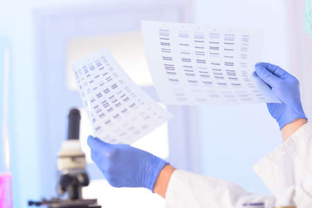 sequencing: Scientist analizing DNA sequence for identity