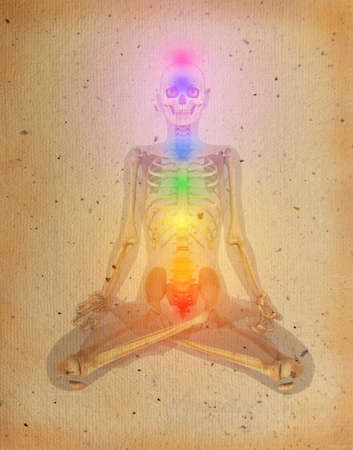 Chakras illustrated over human body with visible skeleton on old parchment
