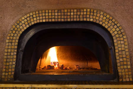 pizza oven: Traditional Italian pizza woodfired stone oven.