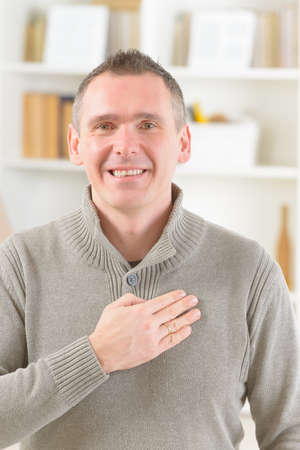 emotional freedom: Man doing EFT on the tender spot. Emotional Freedom Techniques, tapping, a form of counseling intervention that draws on various theories of alternative medicine.