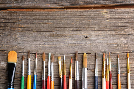 artistic: Paint brushes used by artists to create paintings Stock Photo