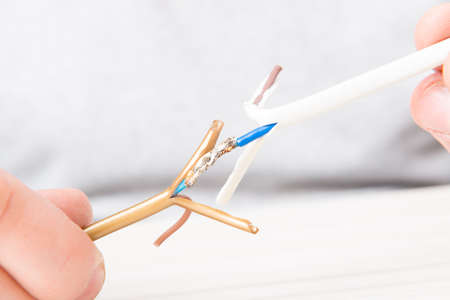 soldered: Soldering copper wire with tin Stock Photo