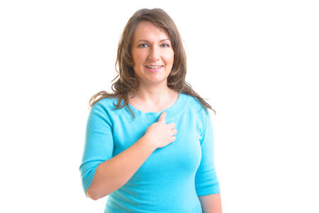 emotional freedom: Woman doing EFT on the under collarbone. Emotional Freedom Techniques, tapping, a form of counseling intervention that draws on various theories of alternative medicine.