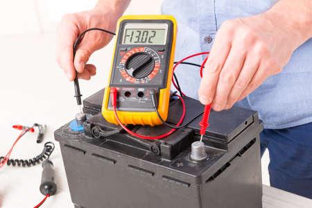 Testing car battery with digital multimeter