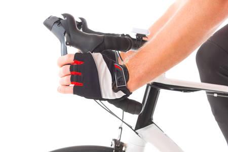 palanca: Hand pressing bicycle brake lever