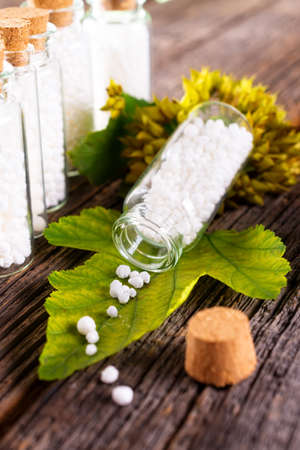 Homeopathic lactose sugar globules on leaf with glass bottle Stock Photo