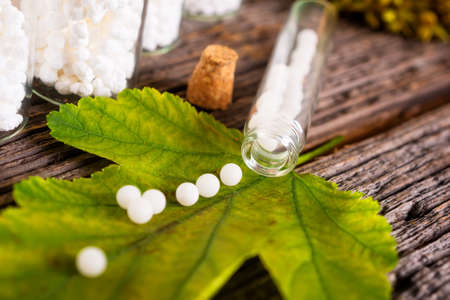 lactose: Homeopathic lactose sugar globules on leaf with glass bottle Stock Photo