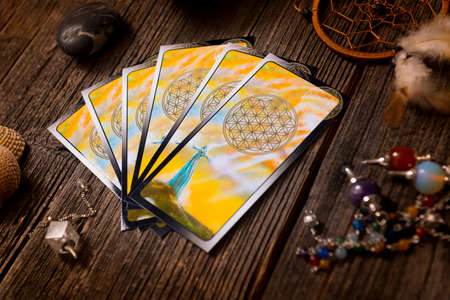 Tarot cards and other fortune tellers accessories