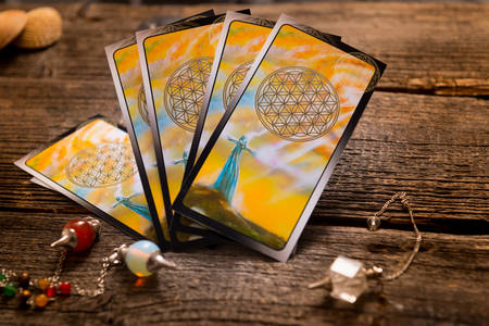 Tarot cards and other fortune teller's accessories