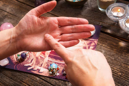 characterization: Palm reading, characterization and foretelling the future through the study of the palm Stock Photo