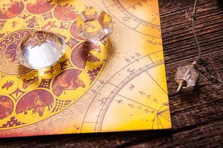 psychic reading: Foretelling the future through astrology Stock Photo