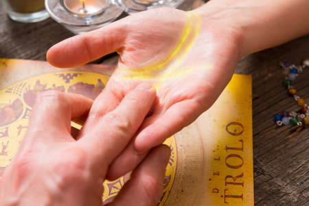 psychic reading: Palm reading, characterization and foretelling the future through the study of the palm Stock Photo