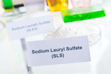 preservatives: Noxious additives in cosmetics. Laboratory with chemical substances. Stock Photo