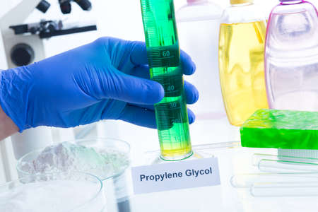hypoallergenic: Noxious additives in cosmetics. Laboratory with chemical substances. Stock Photo