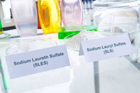 sulfate: Noxious additives in cosmetics. Laboratory with chemical substances. Stock Photo