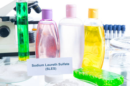 Noxious additives in cosmetics. Laboratory with chemical substances. Archivio Fotografico