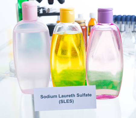 dangerous: Noxious additives in cosmetics. Laboratory with chemical substances. Stock Photo