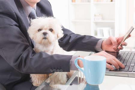 L'uomo lavora in ufficio e tenendo il suo cane: basterebbe.