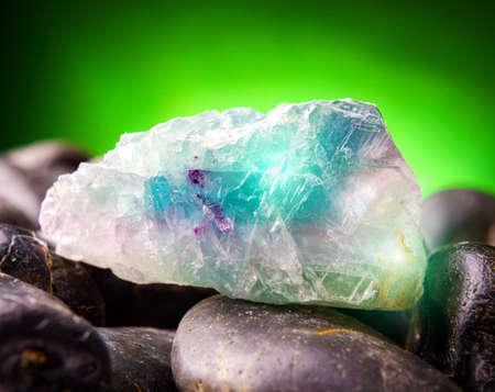 fluorite: Fluorite also called fluorspar natural crystal on amethyst rock