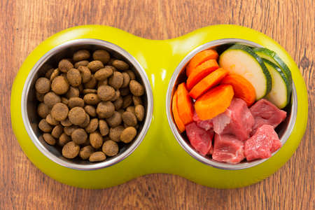 Natural food in a bowl as opposite of dry dog'd food