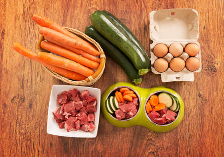 Natural, organic dog's food in a bowl with ingredients zucchini, carrot, eggs and raw meat