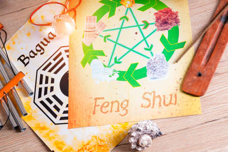feng: Conceptual image of Feng Shui with five elements