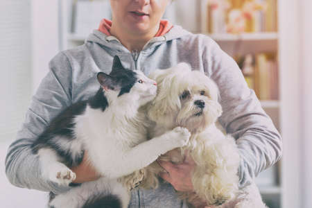 Pet owner with dog and cat at home