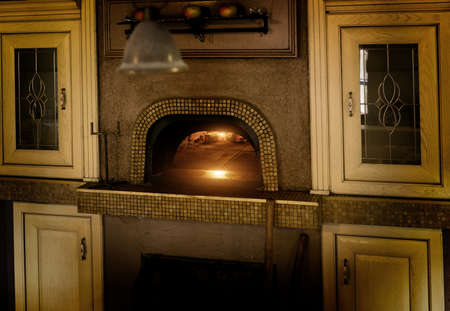 Traditional Italian pizza woodfired stone oven.