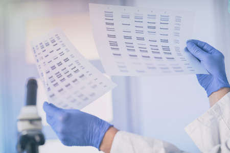 Scientist analizing DNA sequence in the modern laboratory