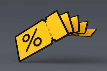 Yellow promo code coupons floatin over grey backgroung.  3d illustration