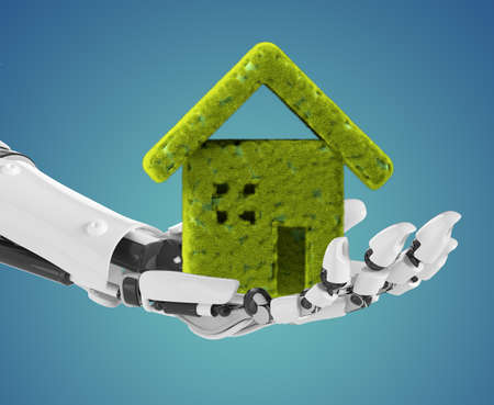 Robotic hand holding a green house. Concept of many ideas like ecology and environmental needs, artificial inteligence in home and others