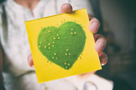 Woman's hands holding sticky note with green heart with yellow flowers, natural and ecological life style concept, gardening in pure, healthy environment