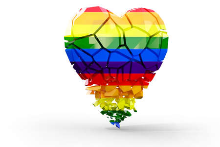 Shattered heart in colors of LGBT pride flag, symbol of lesbian, gay, bisexual, transgender, and questioning (LGBTQ). 3d illustration Imagens