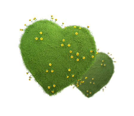 Green heart with yellow flowers, natural and ecological life style concept, gardening in pure, healthy environment. 3d illustration isolated on white background. Imagens
