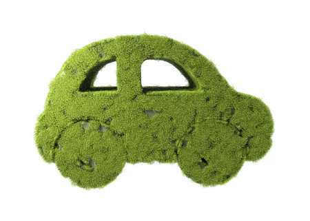 Concept of eco friendly, think green and other ecological ideas. Green car with grass growing on it. 3d illustration isolated on white background Imagens