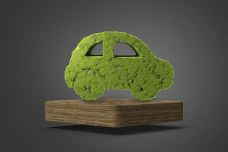 Concept of eco friendly, think green and other ecological ideas. Green car with grass growing on it on wooden stand 3d illustration