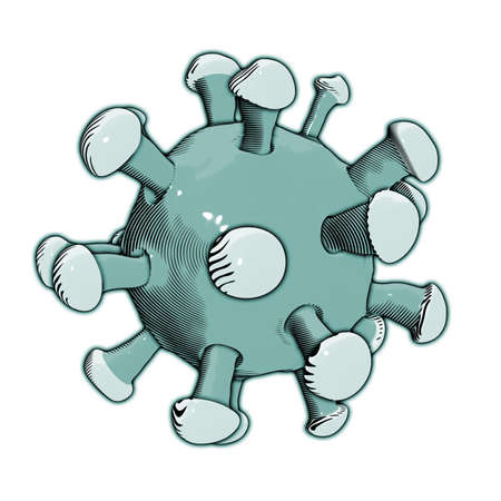 Illustration showing Coronavirus.This virus could be dangerours or deadly as SARS. 版權商用圖片