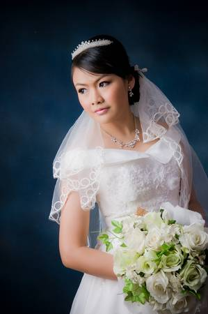 Bride posing in wedding dress at studio photo